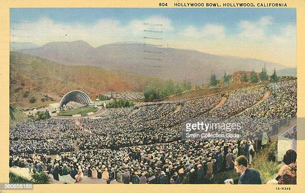 Hollywood Bowl music venue with a capacity crowd in elegant dress Hollywood California 1939