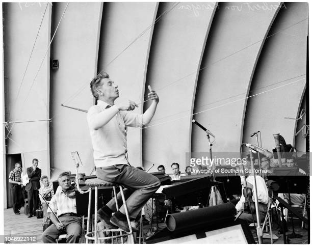 Hollywood Bowl rehearsals at Philharmonic 1 July 1959 Herbert Von Karajan David Frisina general views of Orchestra etcCaption slip reads...