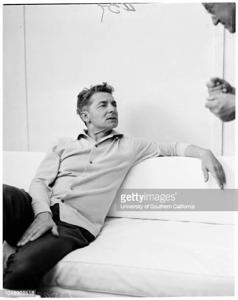 Hollywood Bowl rehearsals at Philharmonic, 1 July 1959. Herbert Von Karajan ;David Frisina ;general views of Orchestra, etc;Caption slip reads:...