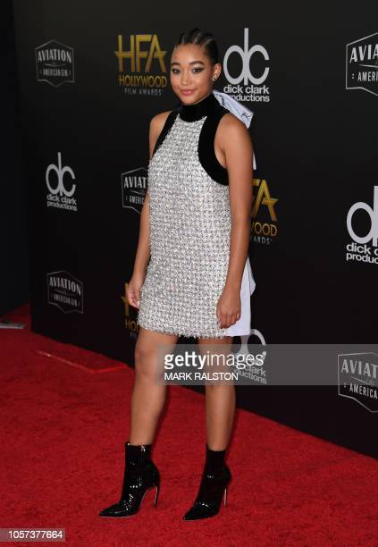 Hollywood Breakout Performance Actress Award recipient actress Amandla Stenberg arrives for the 22nd Annual Hollywood Film Awards at the Beverly...
