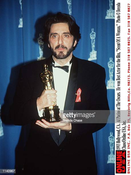"""Hollywood, CA. Al Pacino at The Ocar Awards. He won Best Actor for the film, """"Scent Of A Woman."""""""