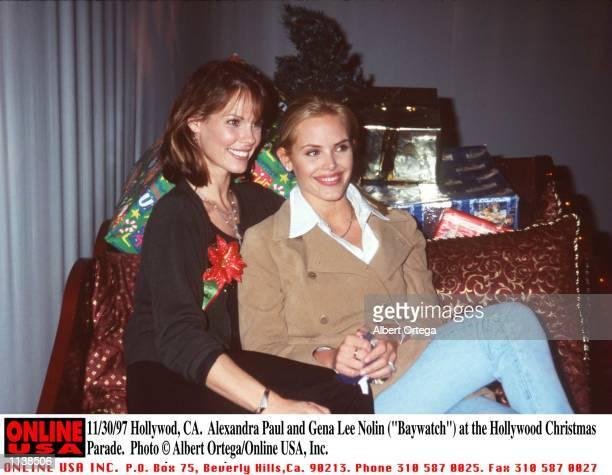 Hollywood CA Alexandra Paul and Gena Lee Nolin at the Hollywood Christmas Parade