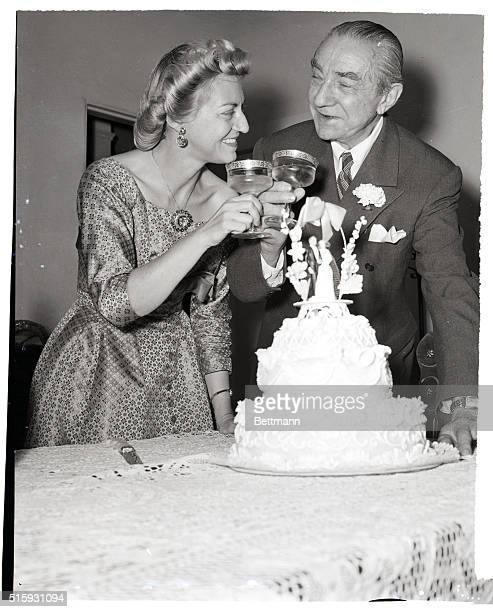8/24/1955 Hollywood CA Bela Lugosi weds Actor Bela Lugosi drinks a toast with his bride Hope Lininger as they mark with champagne their wedding in...
