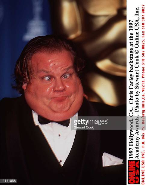 Hollywood CA Chris Farley backstage at the 1997 Academy Awards