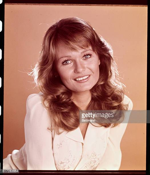 Close up of actress Valerie Perrine wearing a red blouse Undated publicity handout