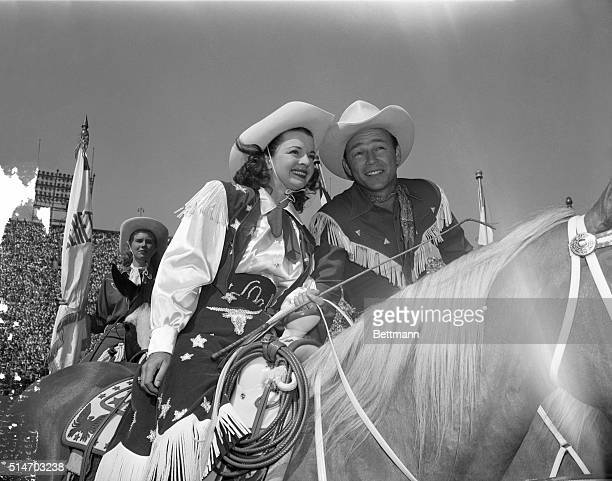 Hollywood CA Dale Evans and her favorite cowboy husband Roy Rogers enjoyed their reception when they appeared at a Los Angeles Rodeo Photo shows Roy...