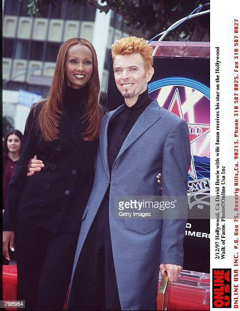 Hollywood Ca David Bowie with wife Iman Receives his star on the Hollywood Walk of Fame