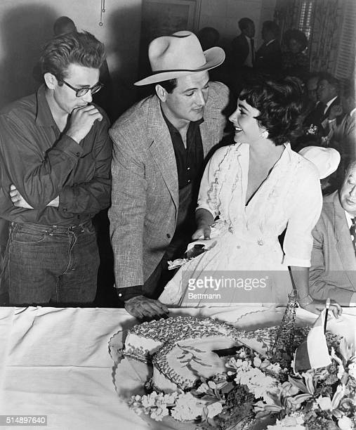 Hollywood CA George Stephens presents the cast of his production Giant to the Hollywood press at a luncheon at Warner Brothers Studio marking the...