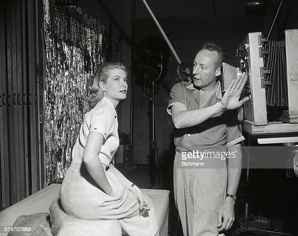 Grace Kelly in the portrait gallery at Paramount Studio in Hollywood is pictured with Bud Fraker head photographer at Paramount