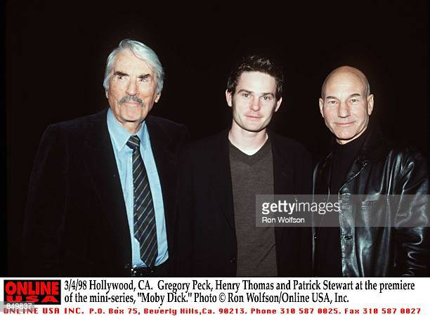 Hollywood CA Gregory Peck Henry Thomas and Patrick Stewart at the premiere of the miniseries 'Moby Dick' Airs March 1516 1998 on the USA Network