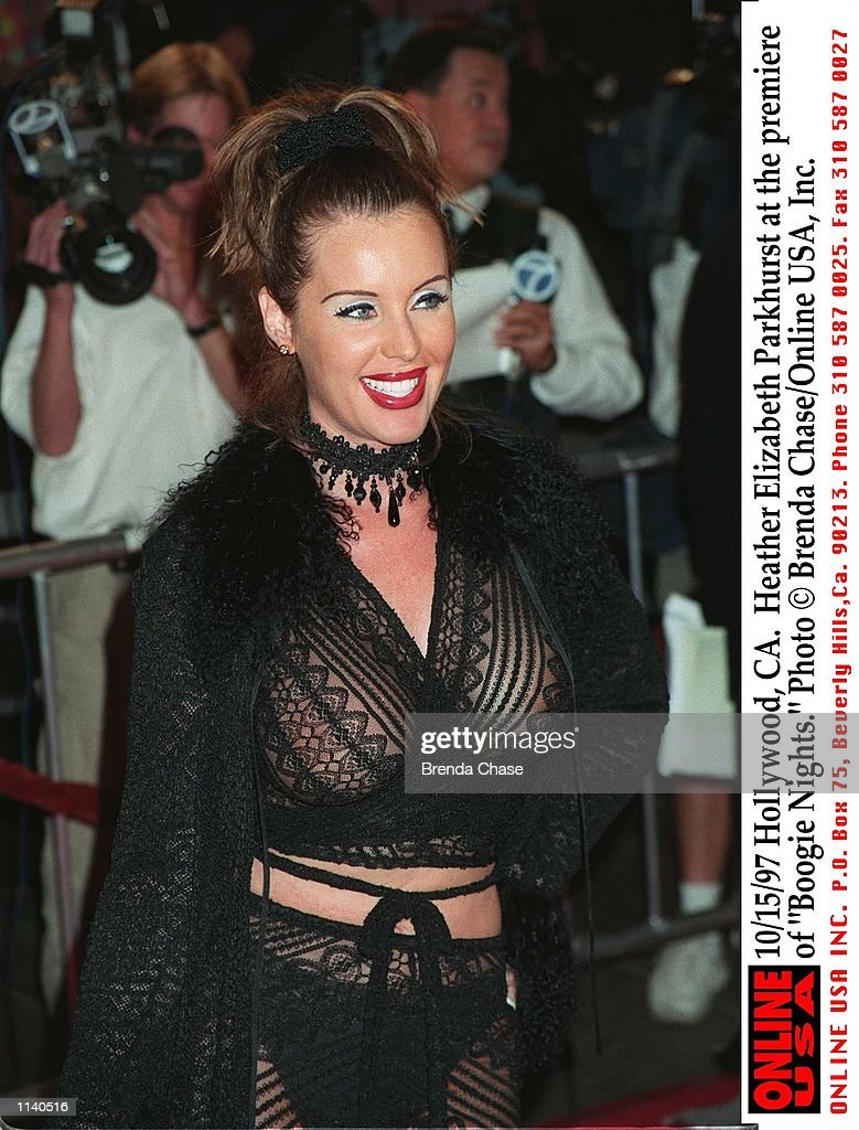 """10/15/97 Hollywood, CA. Heather Elizabeth Parkhurst at the premiere of """"Boogie Nights."""" : News Photo"""