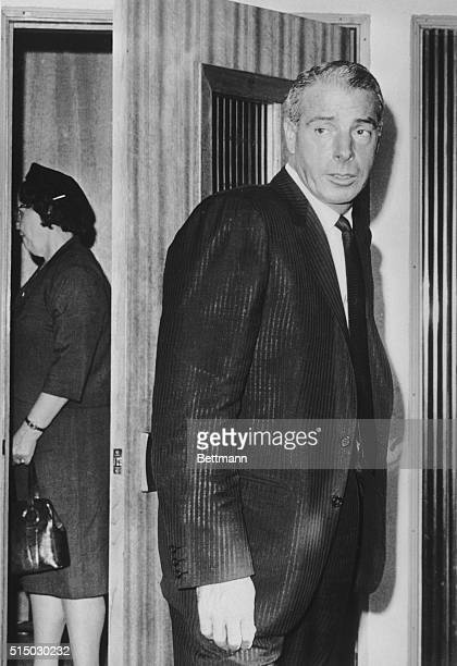 Joe DiMaggio former husband of Marilyn Monroe leaves Westwood Village Memorial Park after making arrangements for the funeral of Miss Monroe who was...