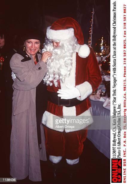 Hollywood CA Kate Mulgrew with Santa Claus at the Hollywood Christmas Parade