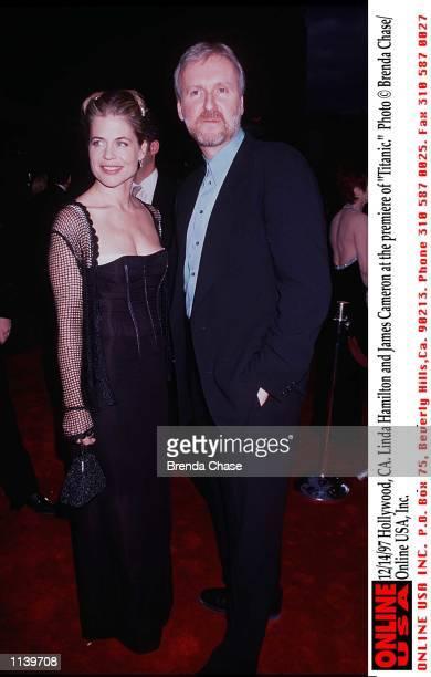 Hollywood CA Linda Hamilton and James Cameron at the world premiere of 'Titanic'