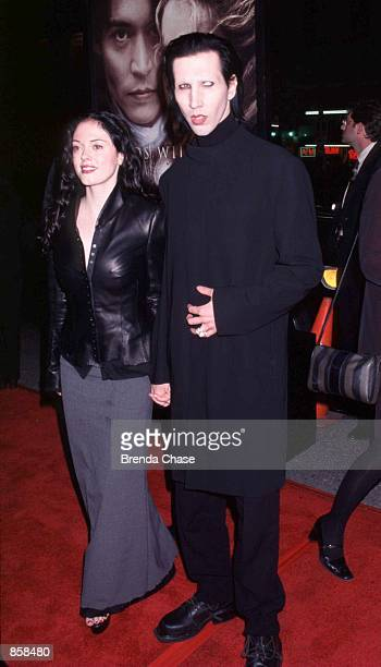 11/17/99 Hollywood CA Marilyn Manson with fiancee Rose McGowen at the Los Angeles premiere of Sleepy Hollow Photo by Brenda Chase Online USA Inc