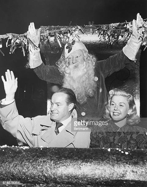 Hollywood, CA: To give show in Berlin for airlift GI's. Comedian Bob Hope and radio singer Doris Day have Santa Claus' blessing as they prepare to...
