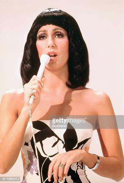 Closeup of singer Cher Bono from TV show Sonny and Cher Comedy Hour