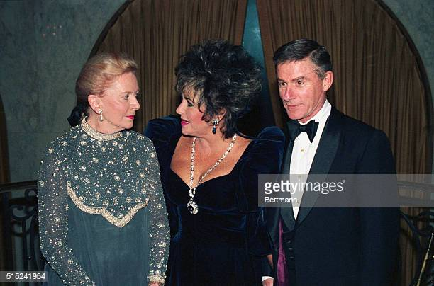 Deborah Kerr Elizabeth Taylor and Roddy McDowall prior to the ceremony in which Kerr and McDowall were presented with Lifetime achievement awards by...