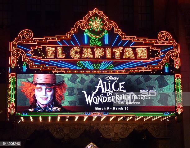 Hollywood California February 19 2010 Alice In Wonderland Great Big Ultimate Fan Event at Hollywood Highland Courtyard in Hollywood and El Capitan...
