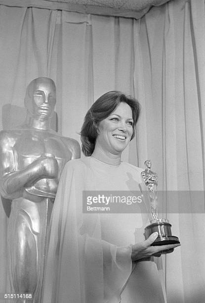 Louise Fletcher close up with her Oscar for 'Best Actress' in the movie One Flew Over the Cuckoo's Nest