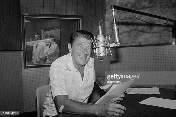 Ronald Reagan wears a smile as he started taping his radio shows here Since the Republican convention the former California governor has been...