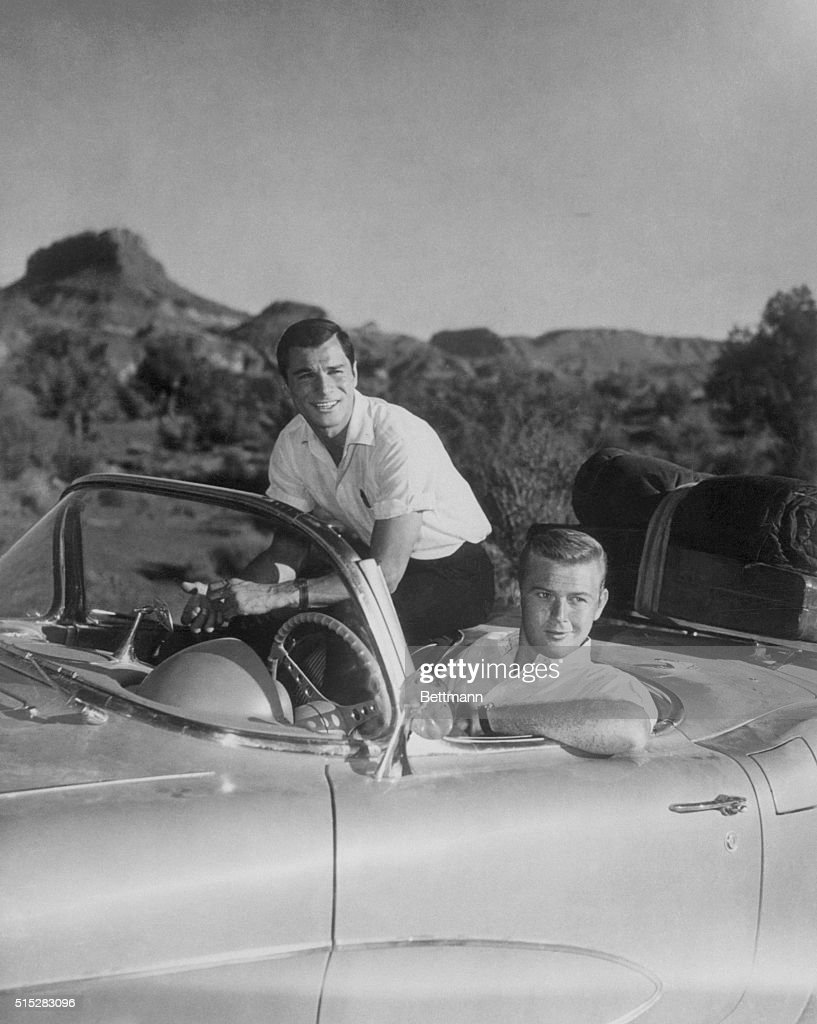 Actors Martin Milner And George Maharis Of Route In Automobile - Route 66 tv show car