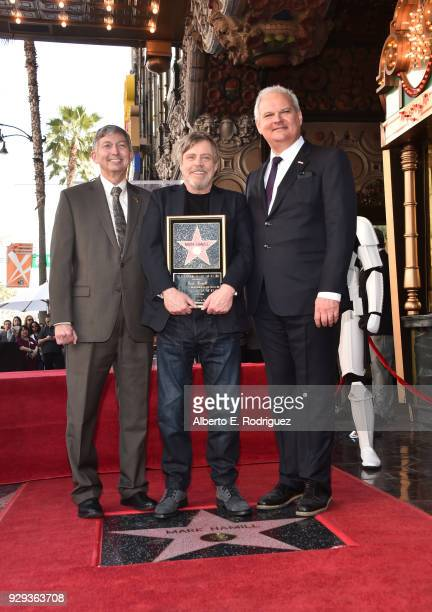 Hollywood Chamber of Commerce President and CEO Leron Gubler Mark Hamill and Hollywood Chamber of Commerce Chair of the Board Jeff Zarrinnam at Mark...