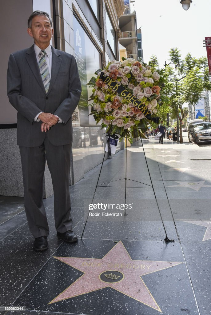 Flowers Placed On The Hollywood Walk Of Fame Star Of Dick Gregory