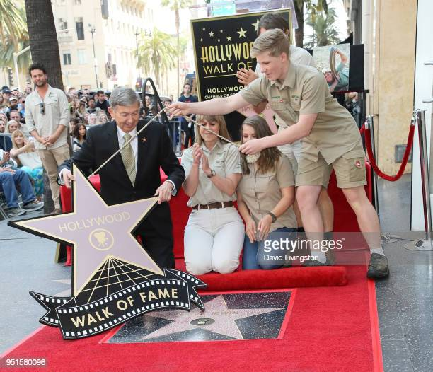 Hollywood Chamber of Commerce President/CEO Leron Gubler, conservationists/TV personalities Terri Irwin, Bindi Irwin and Robert Irwin and director of...