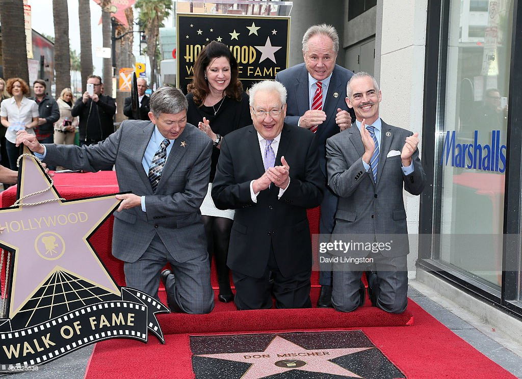 Hollywood Chamber of Commerce President/CEO Leron Gubler, Walk of Fame Chair Maureen Schultz, producer/director Don Mischer and Los Angeles City Councilmembers Tom Labonge and Mitch O'Farrell attend Don Mischer being honored with a Star on the Hollywood Walk of Fame on December 11, 2014 in Hollywood, California.