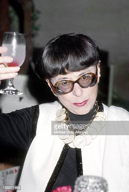Hollywood costume designer Edith Head attends an award ceremony and fashion show at the Century Plaza Hotel on September 20 1979 in Los Angeles...