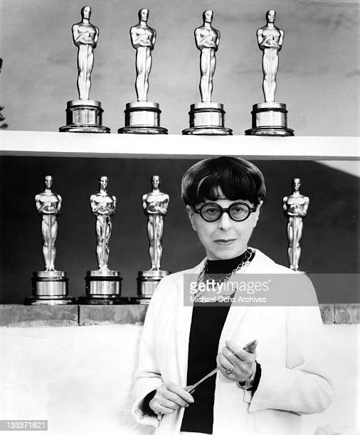 Hollywood costume designer Edith Head poses for a portrait at home with her 8 acadamy Awards on September 20 1979 in Los Angeles California