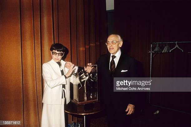 Hollywood costume designer Edith Head receives an award at the Century Plaza Hotel on September 20 1979 in Los Angeles California