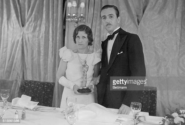 Creator Of Mickey Mouse Wins M P A Award Walt Disney and Mrs Disney shown as they attended the banquet of the Motion Picture academy at Hollywood...