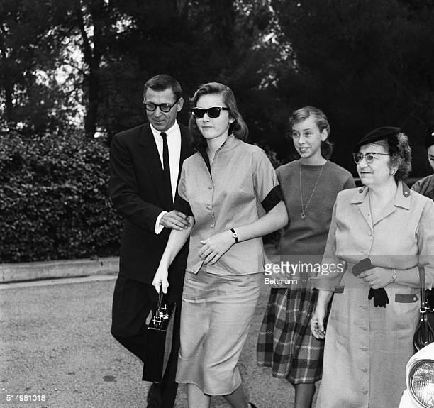 Diedre and Rory daughters of Errol Flynn by his former wife Nora Eddington Flynn Haymes are shown as they arrived for the funeral of their father...