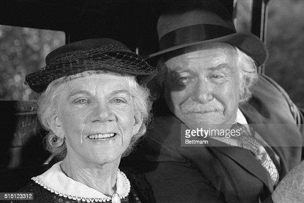 Ellen Corby and Will Geer who play the roles of Grandpa and Grandma in The Waltons TV series shown during filming of an episode Grandma Comes Home...