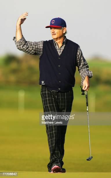 Hollywood film actor Bill Murray on the fourth green during the third round of The Alfred Dunhill Links Championship at Kingsbarns Golf Links on...
