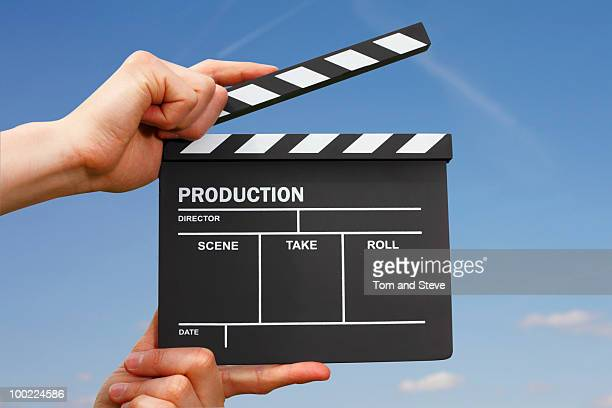hollywood film production clapper board - clapboard stock pictures, royalty-free photos & images