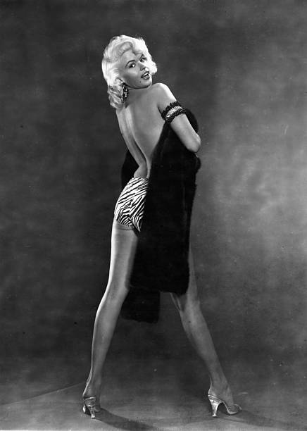 Hollywood film star Jayne Mansfield formerly Vera Jane Palmer in a seductive pose She had a short career as a kind of living parody of Marilyn Monroe...