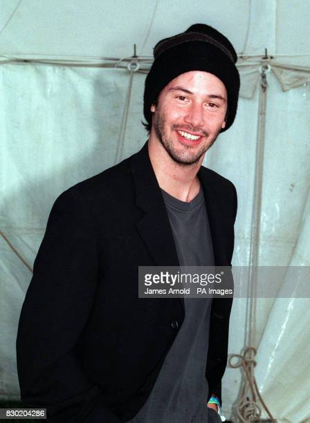 Hollywood film star Keanu Reeves at the 1999 Glastonbury Festival where he performed on stage with his band Dogstar