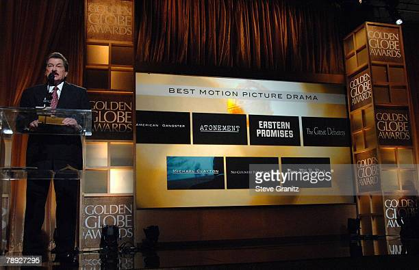Hollywood Foreign Press Assn President Jorge Camara Announces Best Motion Picture Drama Winner At The 65th Annual Golden Globe Awards