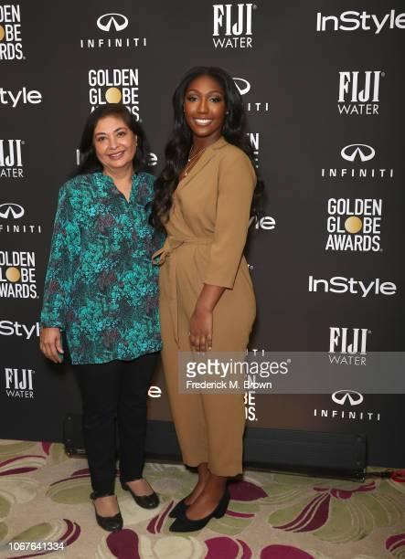 Hollywood Foreign Press Association President Meher Tatna and 2019 Golden Globe Ambassador and actor Idris Elba's daughter Isan Elba attend The...