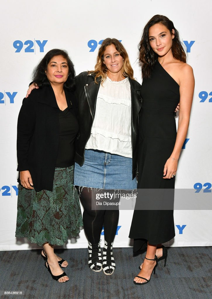 Hollywood Foreign Press Association president Meher Tatna, Carla Sosenko, and actress Gal Gadot attend Gal Gadot and Meher Tatna in Conversation with Carla Sosenko at 92nd Street Y on October 1, 2017 in New York City.