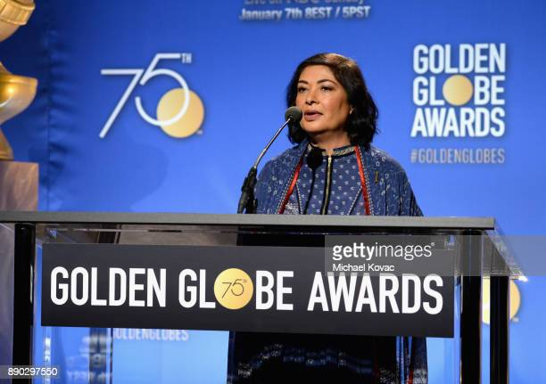 Hollywood Foreign Press Association President Meher Tatna speaks during Moet Chandon Toasts The 75th Annual Golden Globe Awards Nominations at The...