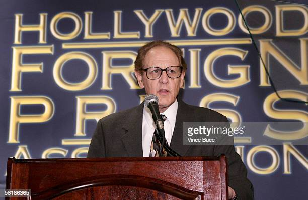 Hollywood Foreign Press Association President Philip Berk attends a press conference to announce that Dakota Johnson the daughter of actress Melanie...