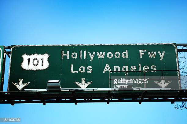 101 hollywood freeway exit towards los angeles sign. - highway 405 stock photos and pictures