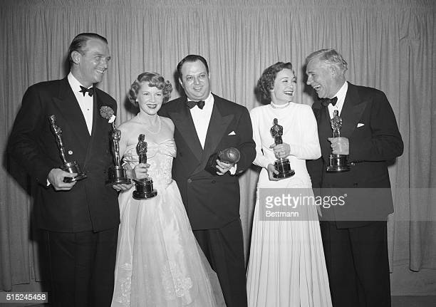 Happy Night This year's five happy Oscar holders stand on the stage at the Academy Award presentation March 24 They are Douglas Fairbanks who...