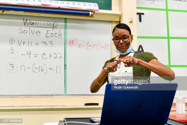 Hollywood High Special Education teacher Shirley Woods conducts class remotely on September 08, 2020 in Los Angeles, California. LAUSD school...