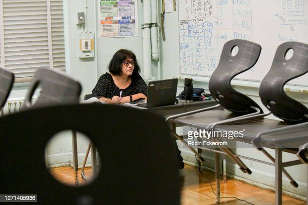 Hollywood High Teachers Assistant Yolanda Franco conducts class remotely on September 08, 2020 in Los Angeles, California. LAUSD school campuses...