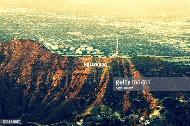 Hollywood hills and sign from the air.
